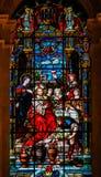 Jésus et Mary au mariage chez Cana - verre souillé Images stock
