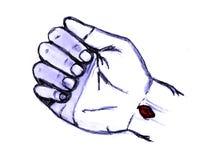 Jésus a percé la main (le poignet) Images libres de droits