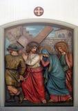 Jésus rencontre sa mère, les 4èmes stations de la croix Images libres de droits
