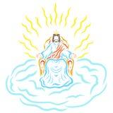 Jésus s'asseyant sur un trône dans une couronne, sur un nuage, rayonnement de ho illustration stock