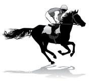 Jóquei em um cavalo Fotografia de Stock