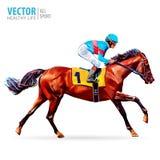 Jóquei no cavalo campeão Cavalo Racing hippodrome racetrack Imagem de Stock Royalty Free