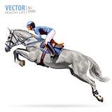 Jóquei no cavalo campeão Corrida de cavalos Esporte equestre Cavalo de salto da equitação do jóquei poster Fundo do esporte Imagens de Stock
