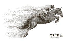 Jóquei no cavalo campeão Corrida de cavalos Esporte equestre Cavalo de salto da equitação do jóquei poster Fundo do esporte ilustração do vetor