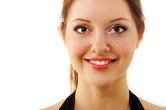 Jóvenes hermosos de la cara de la mujer aislados en blanco Fotografía de archivo