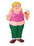 Jóvenes, muchacha rubia gorda con el cono de helado Foto de archivo libre de regalías