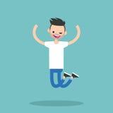 Jóvenes que guiñan al individuo barbudo de salto Foto de archivo libre de regalías