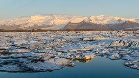 Jökulsárlón Ice Lagoon. At sunrise stock image