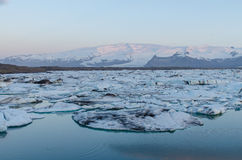 Jökulsárlón Ice Lagoon. At sunrise in spring stock images