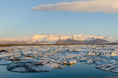 Jökulsárlón Ice Lagoon. At sunset in spring royalty free stock photo