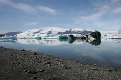 Jökulsárlón in Iceland. Enormous environment where glaciers break into water. Stock Image