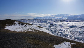 Jökulsarlon ice lake overview. Jökulsarlon glacier lake overview from the top of a mountain royalty free stock photography