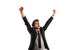 Júbilo do homem de negócio após o sucesso Imagens de Stock