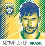 JÚNIOR de Neymar Estrela de futebol brasileira ilustração stock