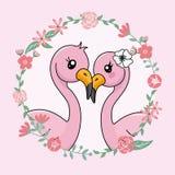 Júntese de flamencos en amor dentro del marco de la flor stock de ilustración