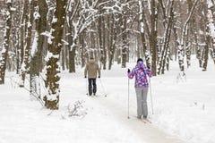 Júntese de la gente que disfruta de esquí de fondo en parque o bosque de la ciudad en invierno Actividades al aire libre del depo fotografía de archivo libre de regalías