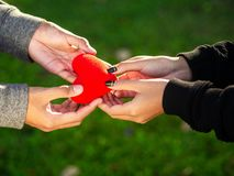Júntese el día de tarjetas del día de San Valentín El hombre da el corazón rojo a la mujer en el parque Amor, día de tarjetas del fotos de archivo