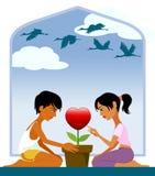 Júntese en el árbol de las tarjetas del día de San Valentín Foto de archivo