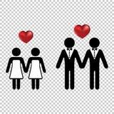 Júntese o icono de dos amantes del homo simple con las siluetas del vector de un amor del corazón Boda de la boda de lesbianas o  stock de ilustración