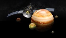 Júpiter que está en órbita por satélite ejemplo 3d, en fondo negro stock de ilustración