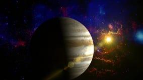 Júpiter que gira en espacio stock de ilustración