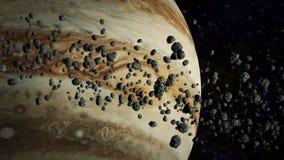 Júpiter y asteroides ilustración del vector