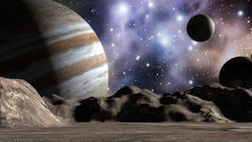 Júpiter y lunas en paisaje del espacio libre illustration