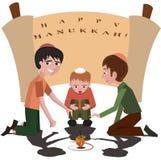 Jüdische Kinder mit Kreisel, glückliches Chanukka Stockfotografie