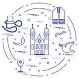 Jüdische Symbole: tfillin, Synagoge, das Horn des Schafs Stockbild
