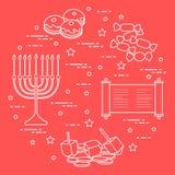 Jüdischer Feiertag Chanukka: dreidel, sivivon, menorah, Münzen, Donut