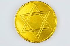 Jüdischer Feiertag geld Schokoladensüßigkeit Lizenzfreie Stockfotos