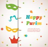 Jüdischer Feiertag Purim-Satz. Vektorillustration. Stockbilder