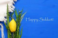 Jüdisches Festival von Sukkot Traditionelle Symbole u. x28; Das vier species& x29;: Etrog, lulav, hadas, arava Lizenzfreies Stockfoto