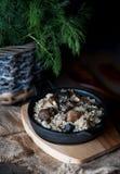 Jęczmienna owsianka z lasu mięsem w obsady żelazie i pieczarkami zdjęcia royalty free