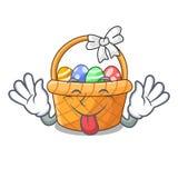 Jęzor za Easter koszu nad drewniany kreskówka stół royalty ilustracja