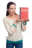 język angielski uczenie Kobieta trzyma Angielskiego podręcznika Zdjęcie Royalty Free