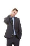 Język ciała mężczyzna ubierający garnitur odizolowywający Obraz Royalty Free