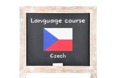 Językowy kurs z flaga na pokładzie zdjęcia royalty free