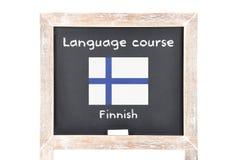 Językowy kurs z flaga na pokładzie zdjęcia stock