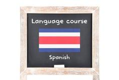 Językowy kurs z flaga na pokładzie fotografia royalty free