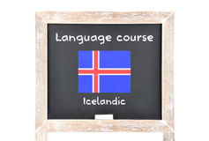 Językowy kurs z flaga na pokładzie obrazy stock
