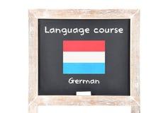 Językowy kurs z flaga na pokładzie obraz stock