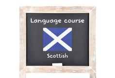 Językowy kurs z flaga na pokładzie obraz royalty free