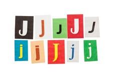 J被设置的题字信件 免版税图库摄影