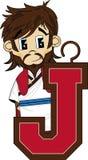 J è per Jesus Biblical Cartoon Character Fotografie Stock Libere da Diritti