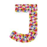 J, γράμμα της αλφαβήτου στα διαφορετικά λουλούδια Στοκ εικόνες με δικαίωμα ελεύθερης χρήσης