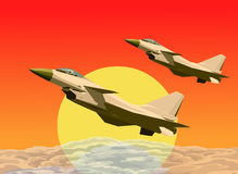 J-10 jets formation flying in sunsets Stock Photography