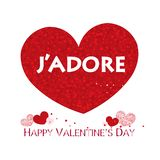 ``J`adore`` text. Red shining sparkle heart. Happy Valentine`s day greeting card. Background vector illustration