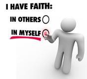 J'ai la foi dans me contre d'autres Person Voting Self Reliance Con Image libre de droits