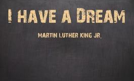 J'ai un rêve et un Martin Luther King, JR écrit dans la craie sur a Image libre de droits